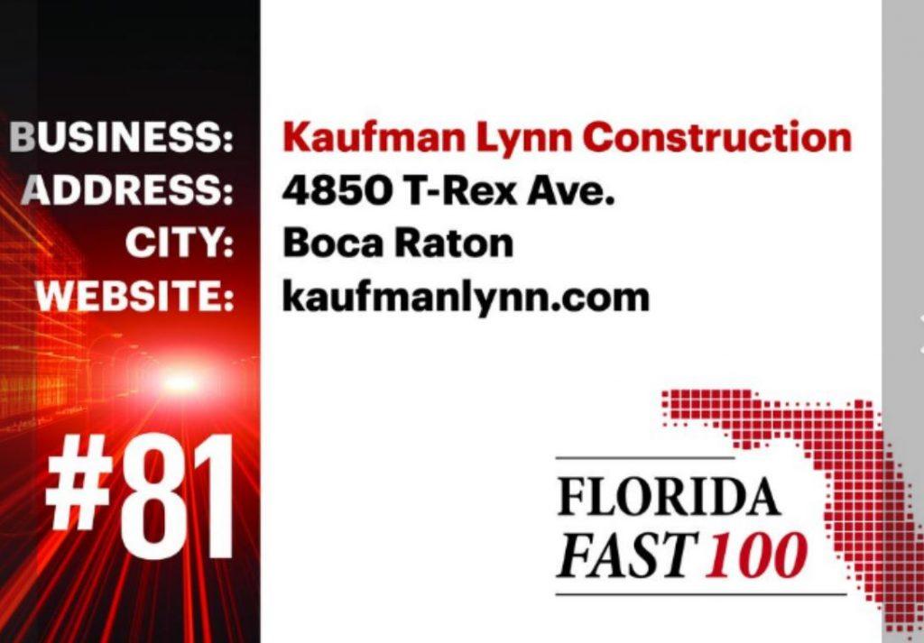 Kaufman Lynn Construction Ranks 81st on Florida Fast 100
