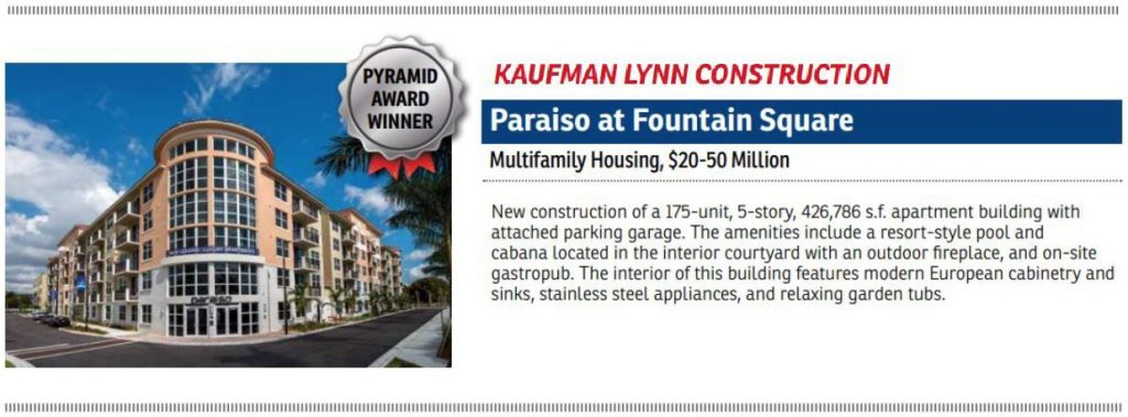 ABC Excellence In Construction Award Paraiso at Fountain Square